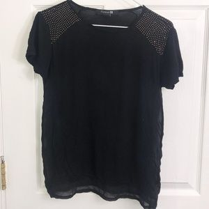 Black Top with Sheer Side and Gold shoulder